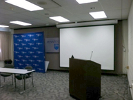 PSU Large Conference Room - Da-Lite Podium and Electric Screen